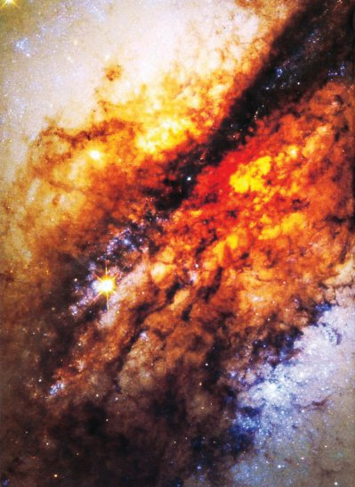 a dust cloud, Centaurus A and stars being formed (NASA)